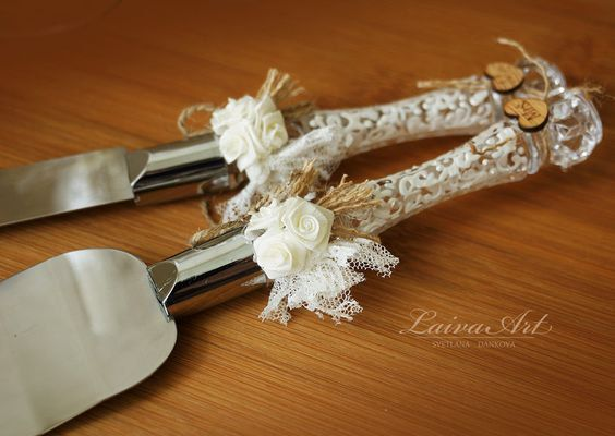 Wedding Cake Server Set & Knife Rustic Wedding Cake by LaivaArt