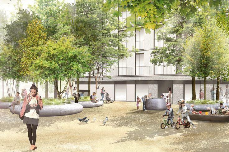 vetschpartner gewinnt den Wettbewerb für die Gestaltung der Freiräume auf dem Hertipark-Areal in Brunnen.