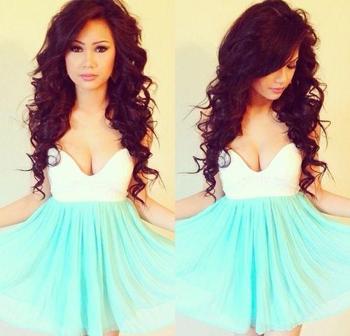 prom hair + dress.