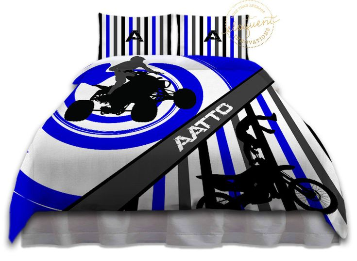 Dirt Bike Comforters - Bedding Blue & White - Dirt Bike Comforter - Kids/Boys Sports Personalized, King, Queen/Full, Twin #270 by EloquentInnovations on Etsy