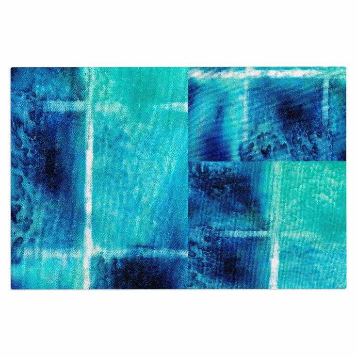 "Nina May ""Saltwater Study"" Teal Blue Decorative Door Mat"