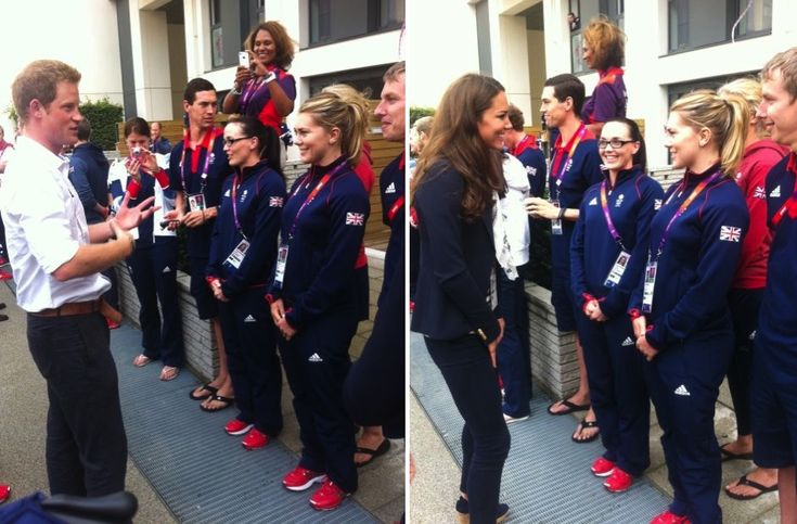 Olympic cyclist Victoria Pendleton posted this picture of Kate, Ms. Pendleton can be seen in the glasses -at the Royal's visit to Team Br. quarters at Olympic Village. 8-2-12