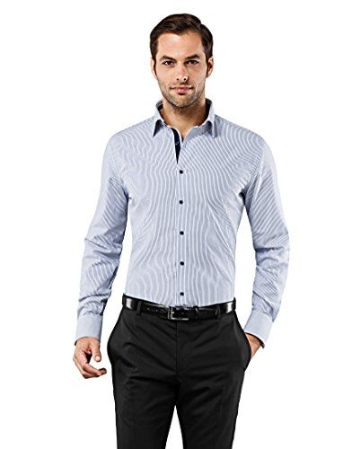 Vincenzo Boretti Men's Shirt Slim Fit Non Iron Striped wi…