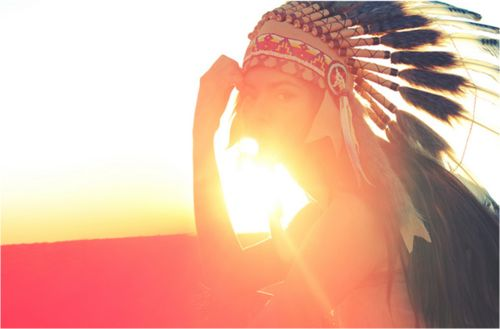 girl, red indian feather headdress