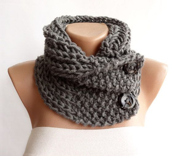 Hand Knitted Scarf, Neckwarmer, Button Cowl Scarf, Chunky Knit Neck ...
