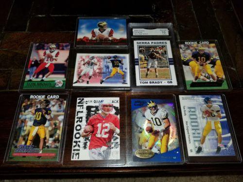 Tom Brady 2000 Rookie Card Lot (8) different RC  His High School Card GEM MT 10