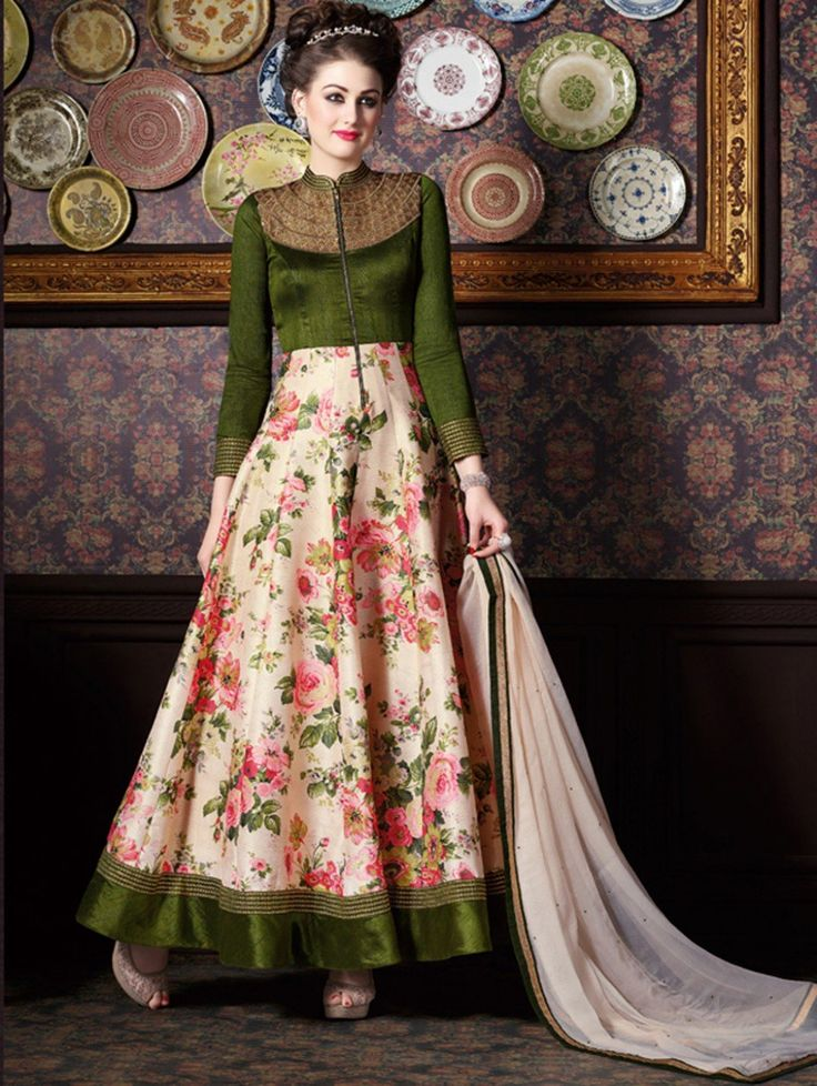 Cream and Dark Green Silk Anarkali Suit with Embroidery Work #Anarkali, #Floral