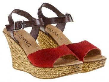 Sandalia de cuña de piel color rojo y moka Barocco #chic http://chic.mequedouno.com/specialday.php?id_spd=13524
