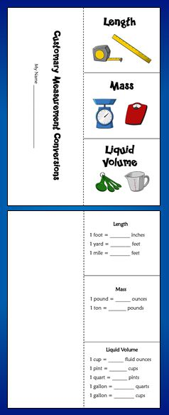 Free Customary Measurement Foldable! Print this pattern on both sides of a sheet of paper, fold on the dotted line, and snip the solid lines to form 3 flaps. Great for student note-taking!