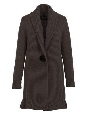 Hnědý svetr ze 100% kašmírové vlny,kabátkového střihu s dlouhým rukávem