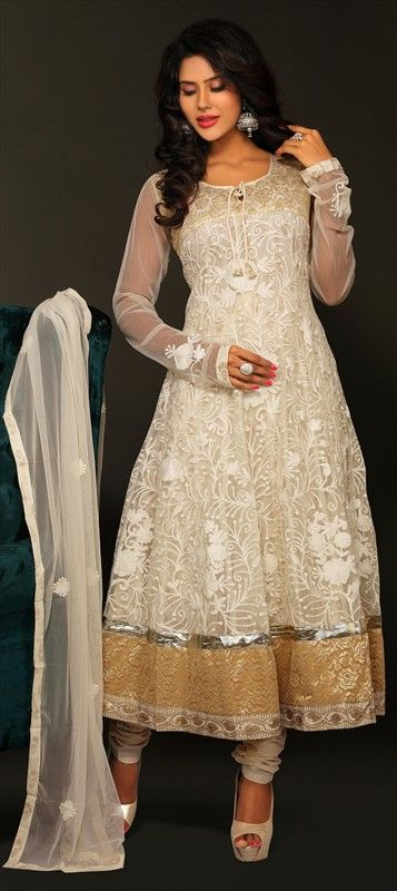 408941: White and Off White color family stitched Anarkali Suits.