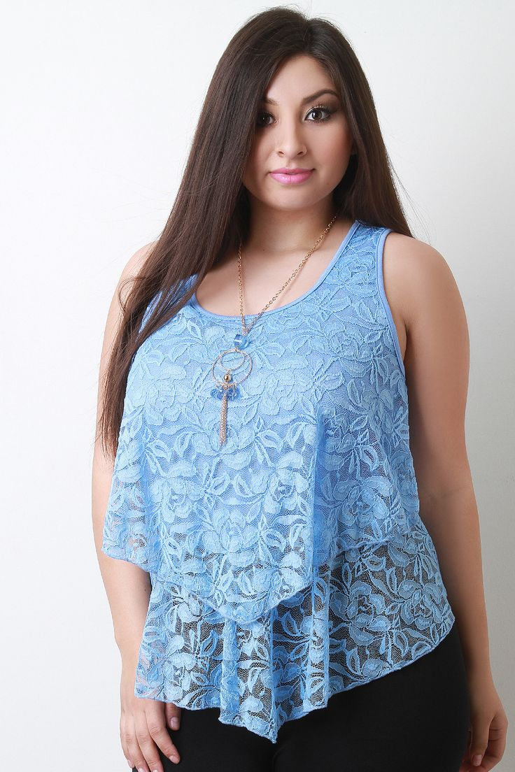 Free SH & Easy Returns! Shop Layered Lace Sleeveless Top. This adorable plus size top features a stretch lace and knit fabrication, square pointed front hem, cropped back, sleeveless design and a scoop neckline.