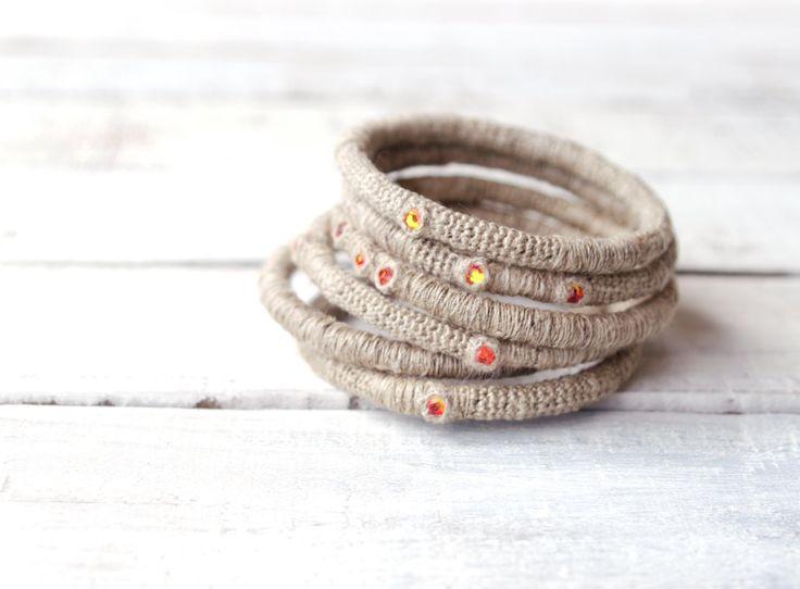 6 lino accatastamento bracciali con cristalli Swarovski Fireopal di vanessahandmade su Etsy https://www.etsy.com/it/listing/189716974/6-lino-accatastamento-bracciali-con