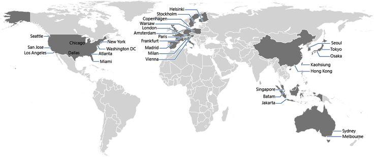 Emplacements des points de présence du réseau de distribution de contenu (CDN) Azure