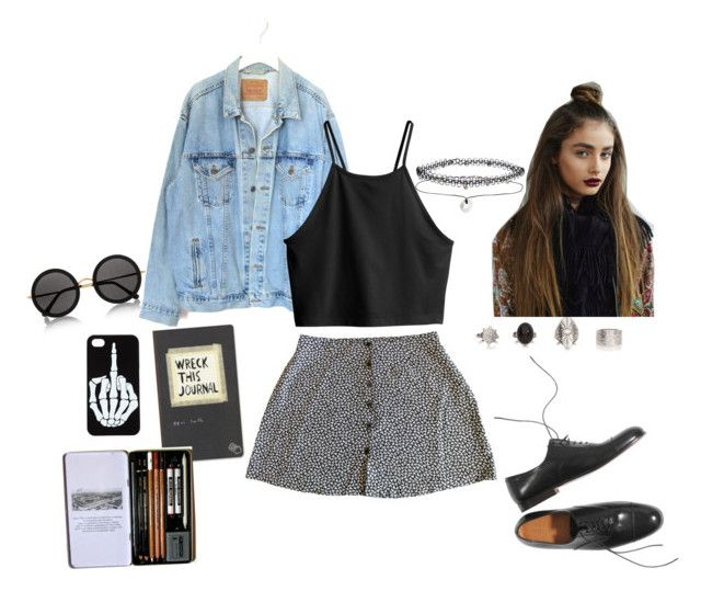 """""""Sketching at the Cafe"""" by mooonfruit ❤ liked on Polyvore featuring The Row, Levi's, Margaret Howell, H&M, Miss Selfridge, vintage, StreetStyle, Summer, grunge and 90s"""
