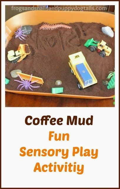 Digging and dumping with COFFEE MUD by FSPDT A great activity to do with the kids for National Coffee Day.