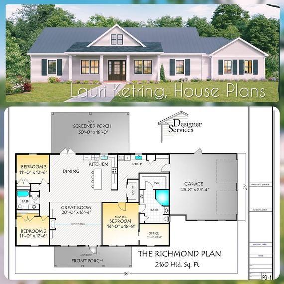 Richmond House Plan 2160 Square Feet Etsy Ranch Style House Plans House Plans Farmhouse Ranch House Plans