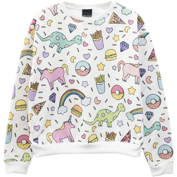 Unicorn Sweater Jumper Top T Shirt Womens Ladies Girls Top Tumblr... found on Polyvore