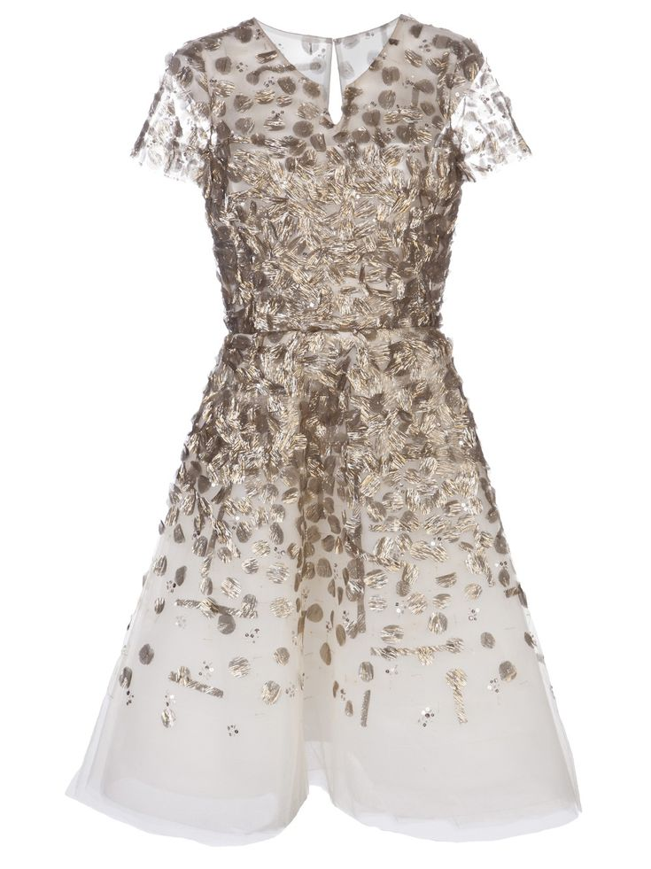 OSCAR DE LA RENTA White Embellished Cocktail Dress This silk blend cocktail dress features a flared silhouette, gold-toned paillettes throughout, and tonal beaded embellishments. Has a split round neck, short sleeves, a defined waist, and a full skirt with a raw edge mid-length hem. Includes full lining and a concealed zipper and hook-eye closure in the back.  $5268 at FarFetch