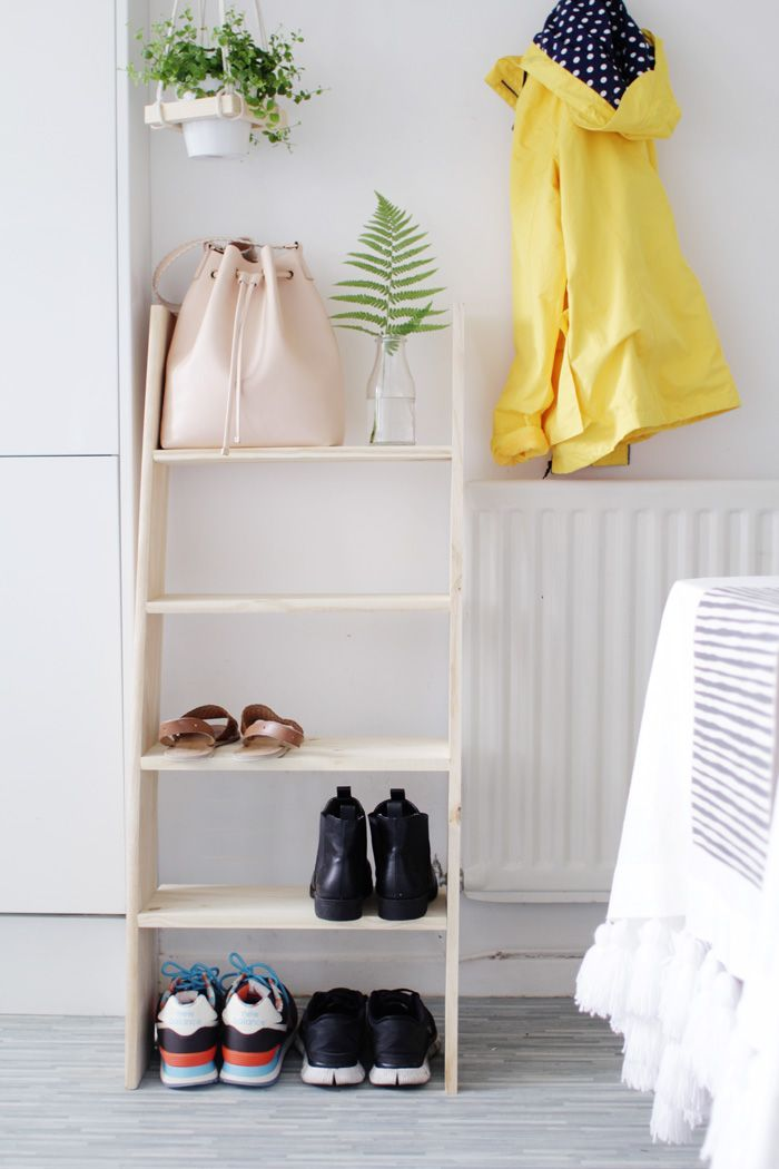 DIY: ladder shelf shoe storage