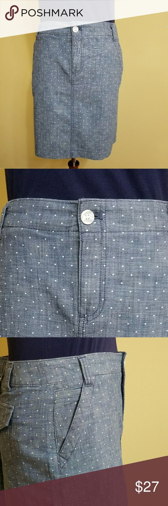 Tommy Hilfiger Polka Dots Chambray Skirt sz 6 NWT Tommy Hilfiger Polka Dots Chambray Pencil Skirt size 6. New with tags 100% cotton.  2 front pockets 2 back flap pockets Light blue with white dots Button and zipper for closure on the front Belt loops The material is lighter and fresh, perfect for Spring and Summer.  16.5 inches waist (laying flat), length: 18 inches. D028 Tommy Hilfiger Skirts Mini