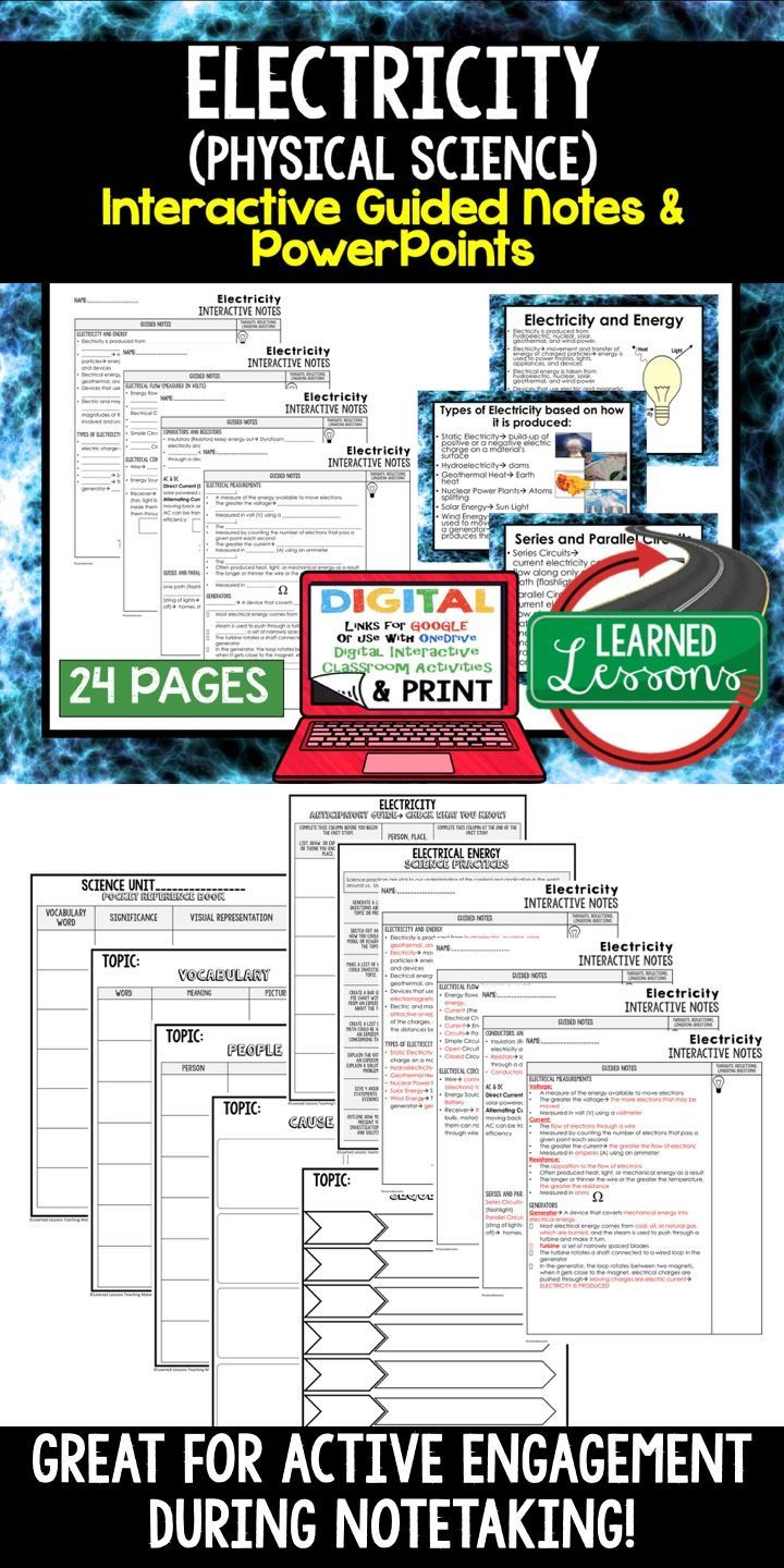 Electricity Guided Notes and PowerPoints NGSS, Google