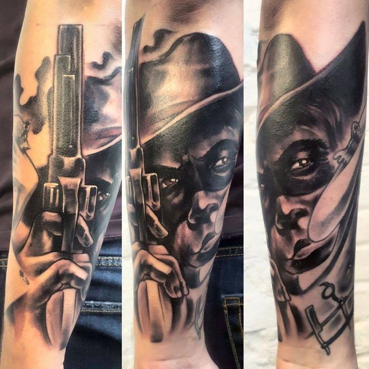 face&gun tattoo, 77ink