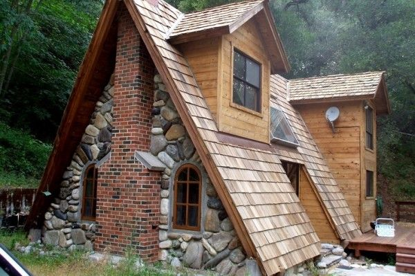 Unique A-frame Cabin with Stone, Brick and Wood - Thick slate shingles would have rocked this right over the top for me.