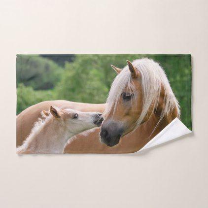 Haflinger Cute Horses Foal and Mom Cuddling Kiss . Bath Towel Set - animal gift ideas animals and pets diy customize