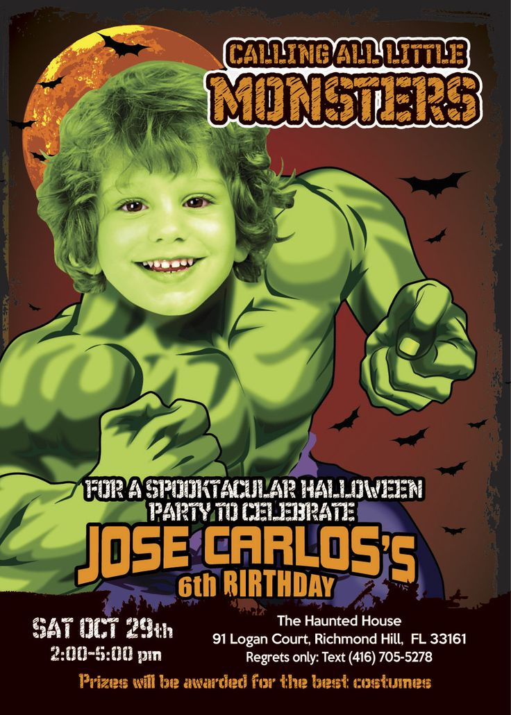 41 best Halloween Birthday Invitations images – Hulk Birthday Invitations