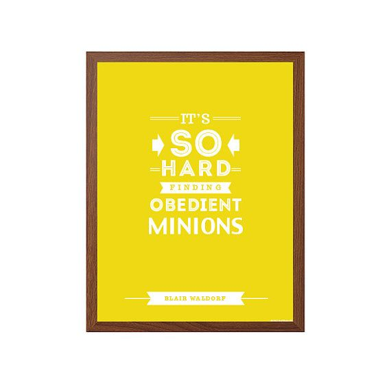 GOSSIP GIRL  Minions Poster : Modern Typography Art by SealTypo