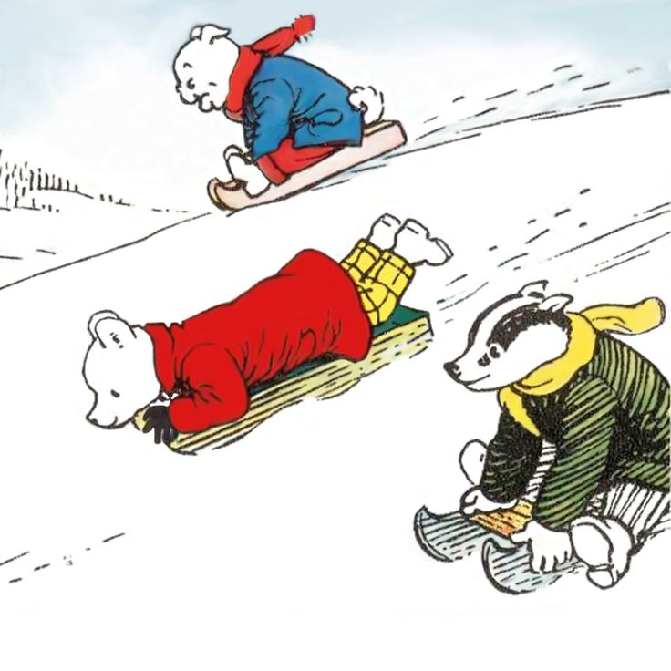 Rupert Bear and friends on sledges