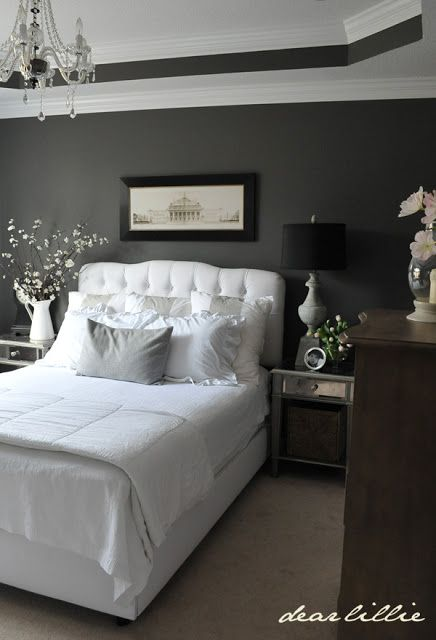Dear Lillie: Master Bedroom. -Perfect combination: black, gray and white. Well ... It looks like a raccoon, but I love it! :)