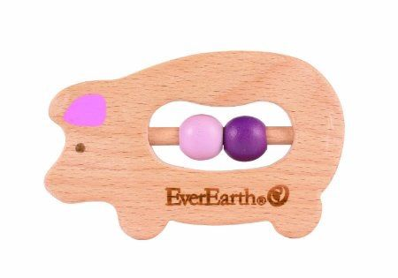 EverEarth Grasping Pig Quality grasping toys made from FSC Certified Natural Wood and BPA free are ideal for little hands to hold on to. Safe and ideal for use as teethers for babies. Suitable for 6 mths onwards
