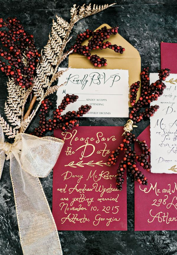 Luxurious Holiday Soiree in Cranberry, Plum, Navy and Gold Photographer: Andie Freeman Photography