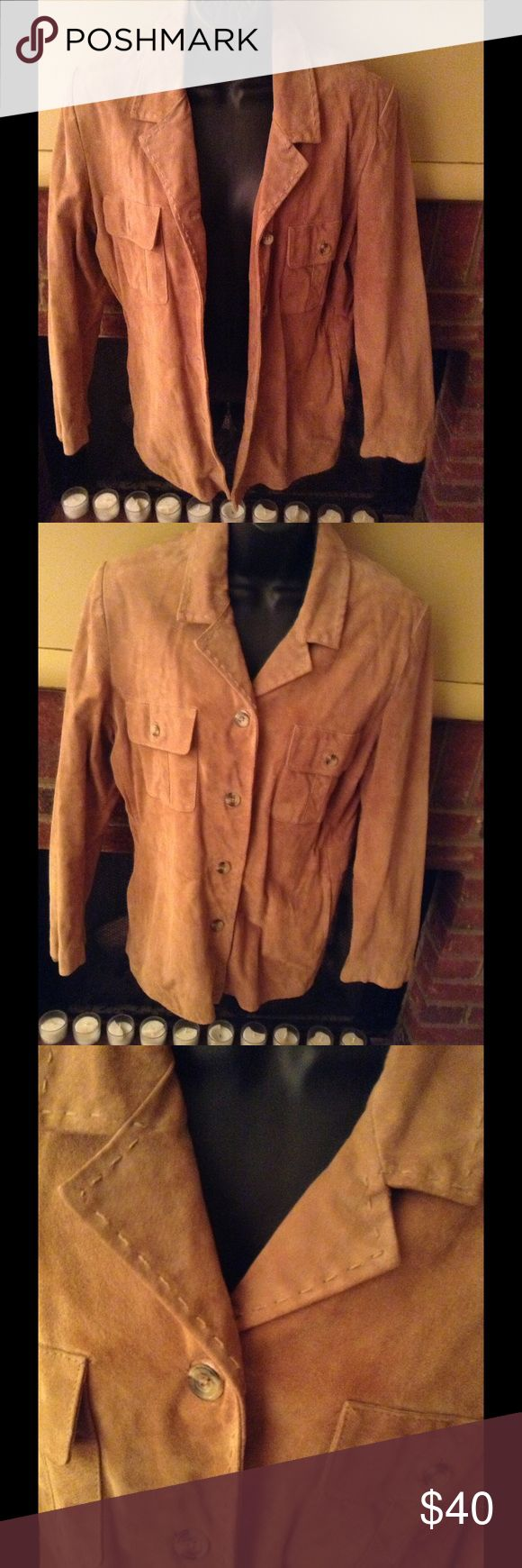 100% leather Camel colors blazer by style and Co In good used condition with no rips or tears. It does need to be dry cleaned to remove some small stains Style & Co Jackets & Coats Blazers