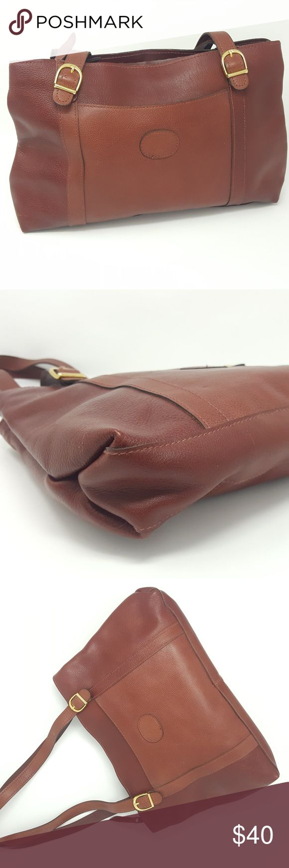 Brown Genuine Leather Bag | Womens Shoulder Purse Genuine brown leather bag. Zippered closure. Gold colored hardware.  Enjoy this high quality leather bag without the expense or guilt of buying new.  Feel good about rescuing a vintage item from the landfill.   Brown Fabric Interior with two sections and a single zippered pocket.  Good condition. Soft Leather.  See Photographs  This item is PRE-OWNED. Bags Shoulder Bags