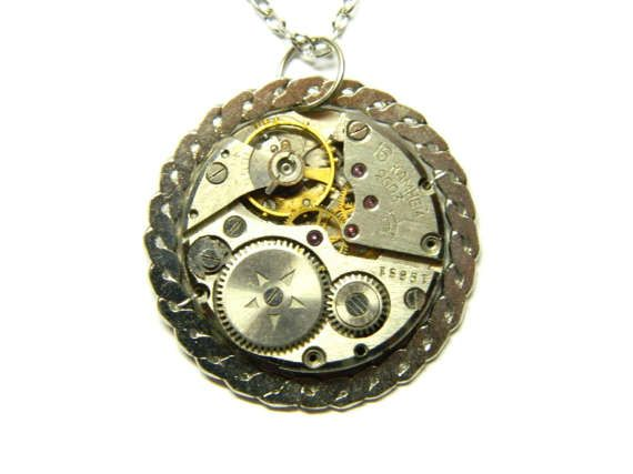 Silver colored steampunk jewelry necklace steam by EmilySteampunk