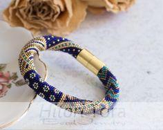 "Bead crochet bracelet ""Gold&Blue"" luxuru bracelet by HitoriToraWorkshop on Etsy"