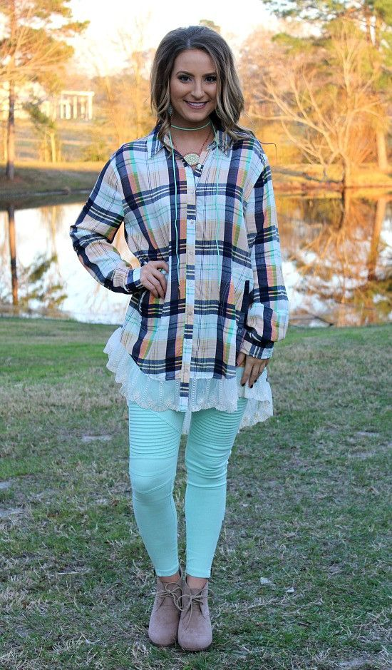 Your Sweet Smile Plaid Button Up with Lace in Green & Navy – Giddy Up Glamour Boutique