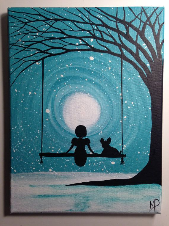 What can I see girl on swing with her French Bulldog   9 x 12 acrylic on canvas ready  by Michael H Prosper