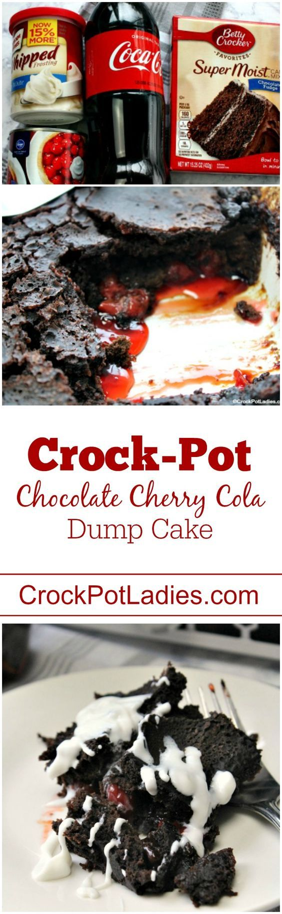 Crock-Pot Chocolate Cherry Cola Dump Cake - With just 4 ingredients this easy to make dessert recipe for Crock-Pot Chocolate Cherry Cola Dump Cake could not be simpler to make and the flavor is out of this world! A box of chocolate cake mix, a can of cola, a can of cherry pie filling and cream cheese icing is all you need for this slow cooker dessert! #CrockPot #SlowCooker #Recipe #ValentinesDay #Chocolate #Cherry #Dessert #LowFat #LowSodium #Vegetarian via @CrockPotLadies
