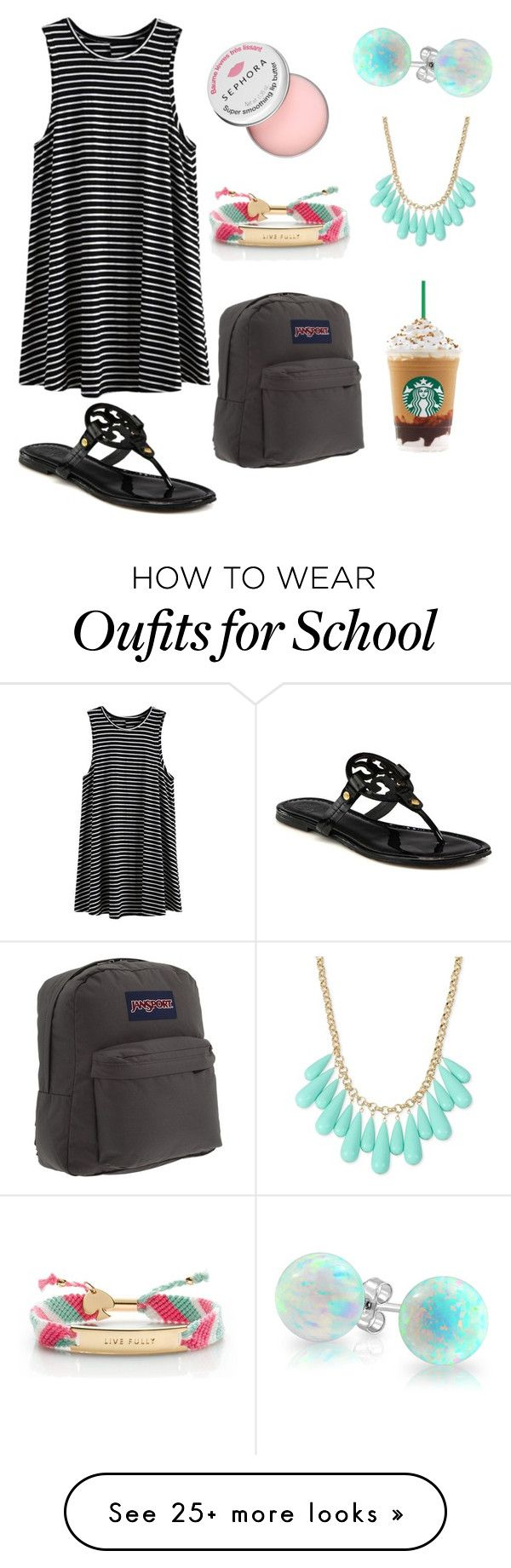 """""""Preppy School Outfit"""" by caroflagrl on Polyvore featuring Sephora Collection, Kate Spade, JanSport, INC International Concepts, Bling Jewelry and Tory Burch"""