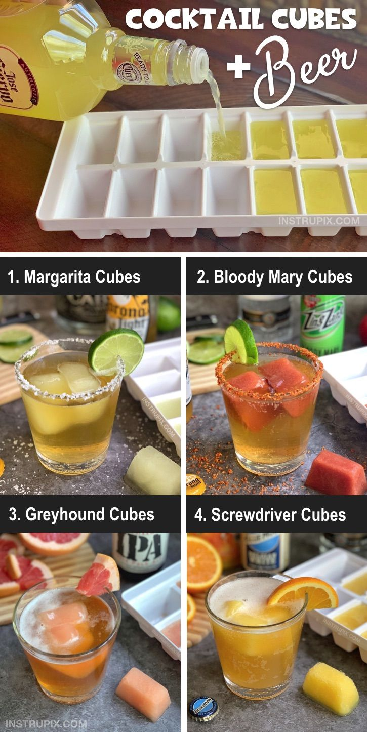 Cocktail Cubes Beer Beer Recipes Fruity Cocktails Drinks