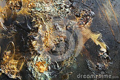 Oil painting background with golden strokes of paint, in gray, golden and blue hues.