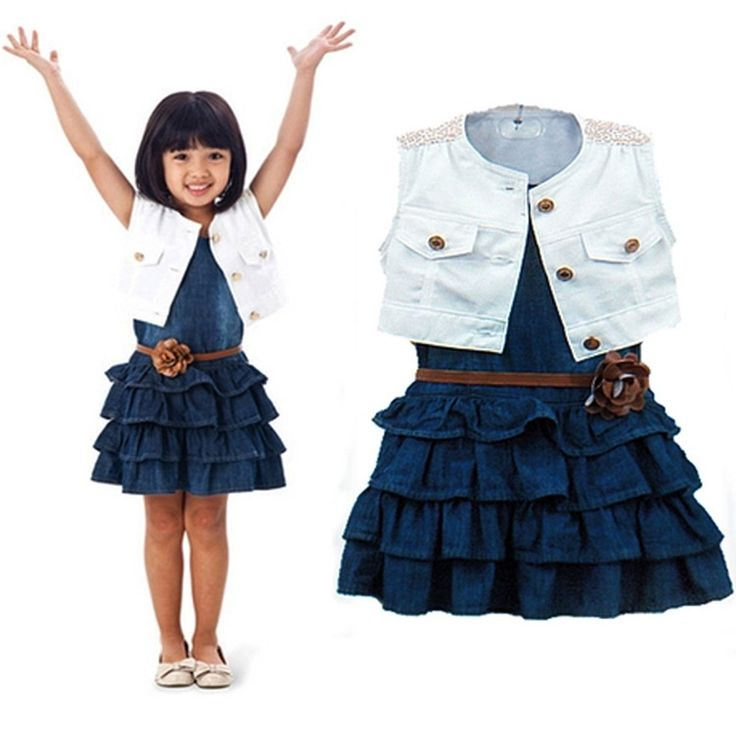 17.84$  Watch here - http://alir3n.shopchina.info/go.php?t=32615209358 - Girls Clothing Sets 2 Pieces One Set Summer Denim Vest +Skirt Suit Survetement Fille Baby Girls Outfits Meisjes Kleding Sets 17.84$ #shopstyle