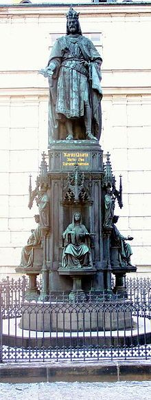 Monument to Emperor Charles IV at Charles University in Prague