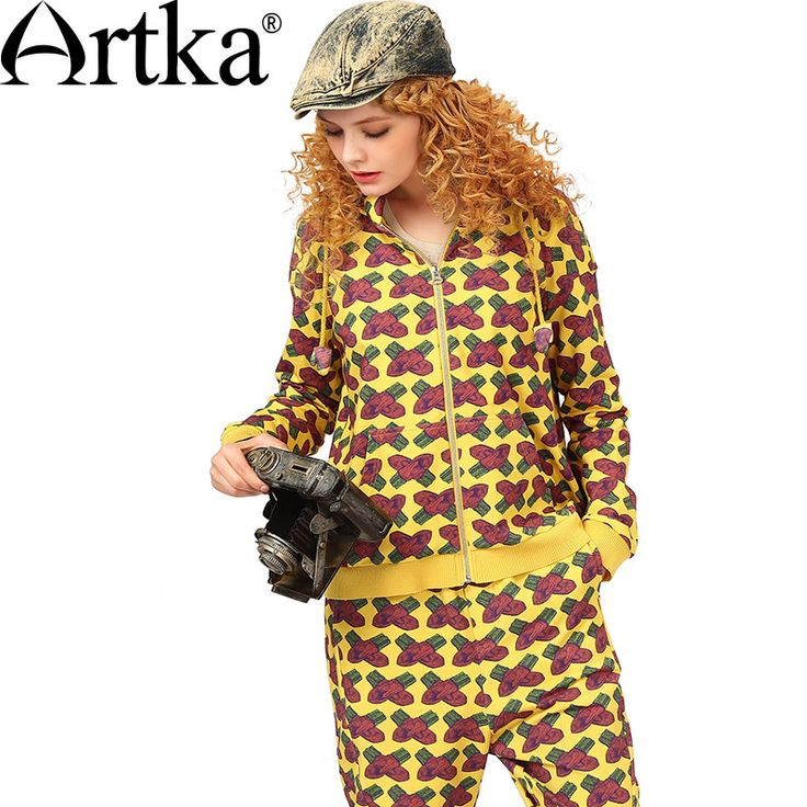 Artka Women's Autumn New Loose Style Printed Patchwork Hoodie Casual Stand Collar Drop-shoulder Sleeve All-match Hoodie VA10058Q