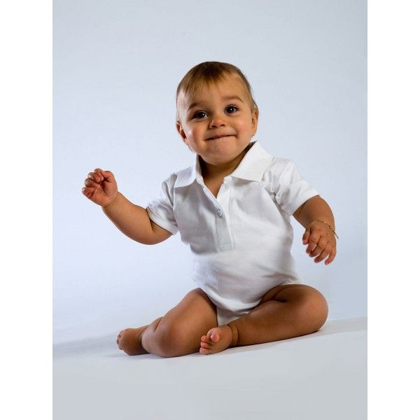 Body neonato in cotone organico Babybugz con originale colletto a polo.