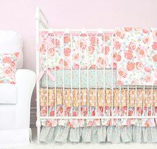 shabby chic vintage style floral baby girl crib bedding set